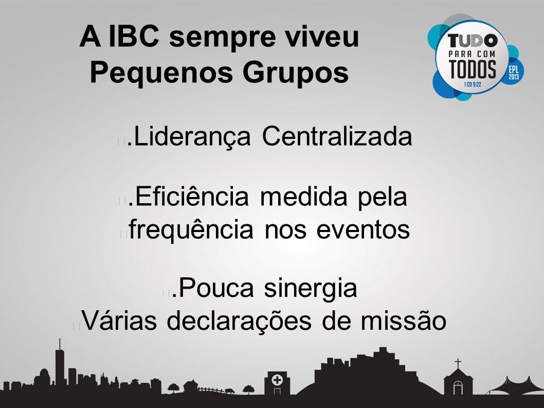 .Liderança Centralizada A IBC sempre viveu Pequenos Grupos.Eficiência medida pela frequência nos eventos.Pouca sinergia Várias declarações de missão