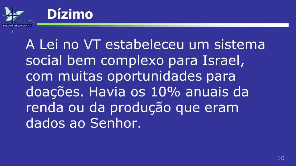 10 Dízimo A Lei no VT estabeleceu um sistema social bem complexo para Israel, com muitas oportunidades para doações. Havia os 10% anuais da renda ou d