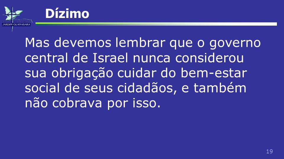 19 Dízimo Mas devemos lembrar que o governo central de Israel nunca considerou sua obrigação cuidar do bem-estar social de seus cidadãos, e também não