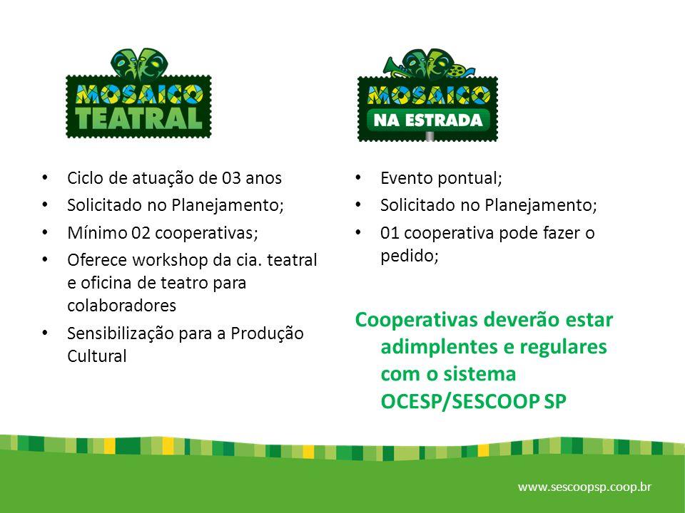 www.sescoopsp.coop.br Evento pontual; Solicitado no Planejamento; 01 cooperativa pode fazer o pedido; Cooperativas deverão estar adimplentes e regulares com o sistema OCESP/SESCOOP SP Ciclo de atuação de 03 anos Solicitado no Planejamento; Mínimo 02 cooperativas; Oferece workshop da cia.