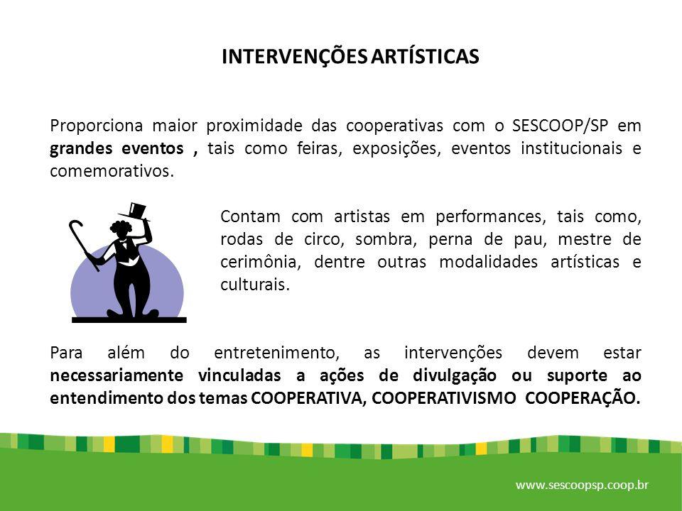 www.sescoopsp.coop.br OFICINA DE TEATRO PARA COLABORADORES Estimula a criatividade e a integração dos colaboradores das cooperativas, por meio da aplicação de jogos teatrais em um clima de grande descontração.