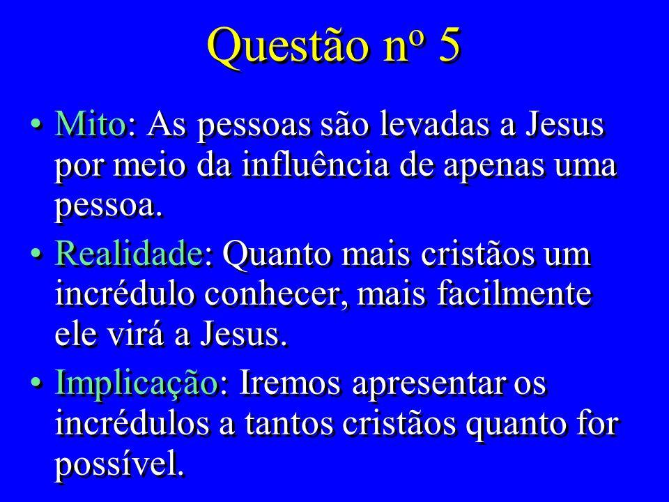 Questão n o 4 Mito: Evangelismo significa apenas dizer as palavras corretas. Realidade: As pessoas são ganhas para Jesus por meio de amor prático e pa