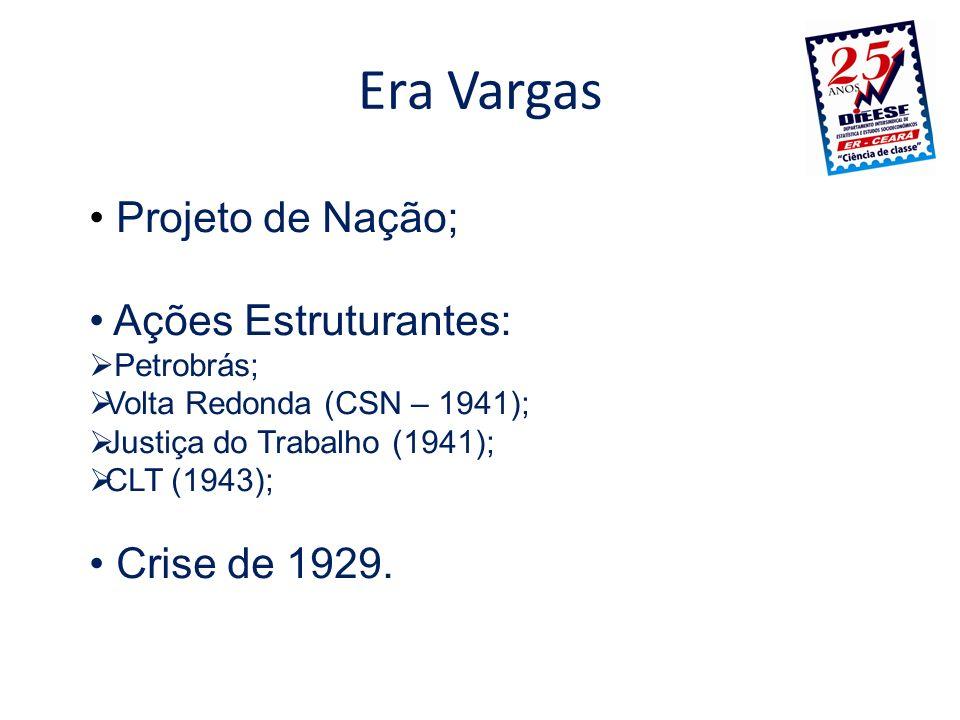 Era Vargas Projeto de Nação; Ações Estruturantes: Petrobrás; Volta Redonda (CSN – 1941); Justiça do Trabalho (1941); CLT (1943); Crise de 1929.