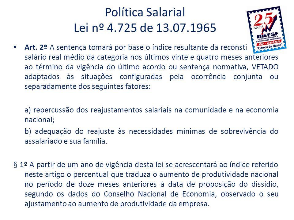 Política Salarial Lei nº 4.725 de 13.07.1965 Art. 2º A sentença tomará por base o índice resultante da reconstituição do salário real médio da categor