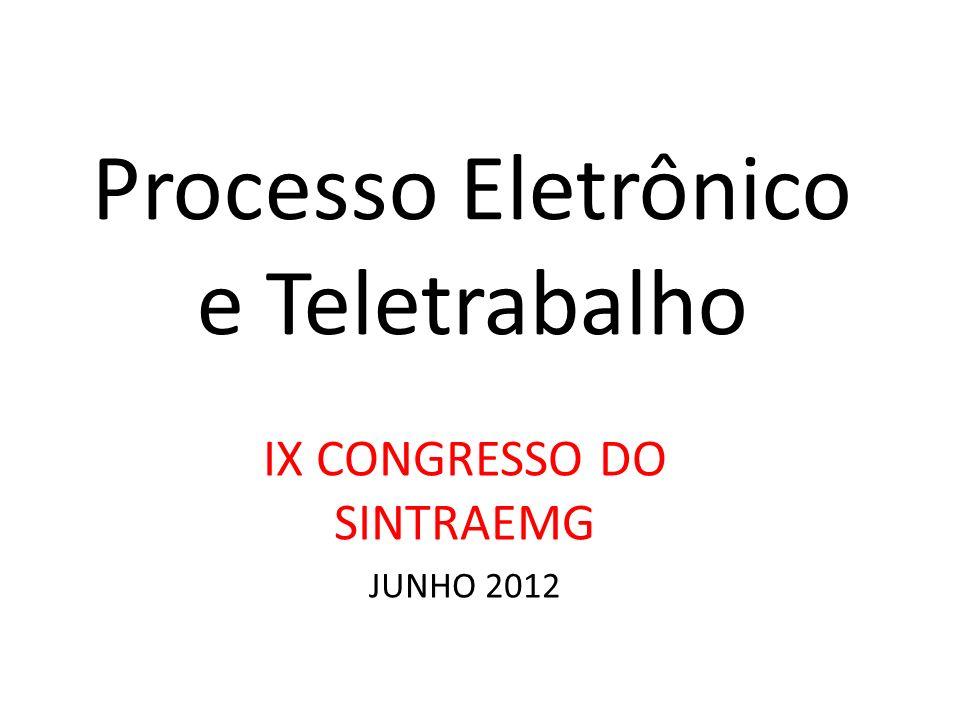 Processo Eletrônico e Teletrabalho IX CONGRESSO DO SINTRAEMG JUNHO 2012