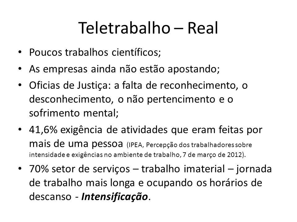 Teletrabalho – Real Poucos trabalhos científicos; As empresas ainda não estão apostando; Oficias de Justiça: a falta de reconhecimento, o desconhecime