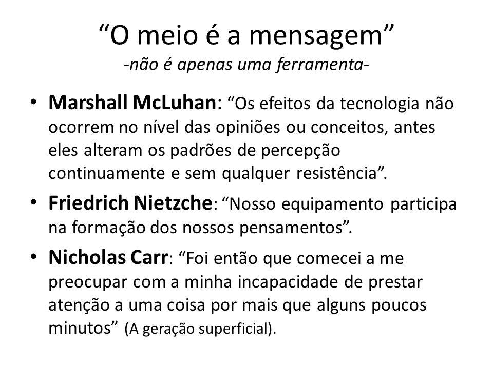 O meio é a mensagem -não é apenas uma ferramenta- Marshall McLuhan: Os efeitos da tecnologia não ocorrem no nível das opiniões ou conceitos, antes ele