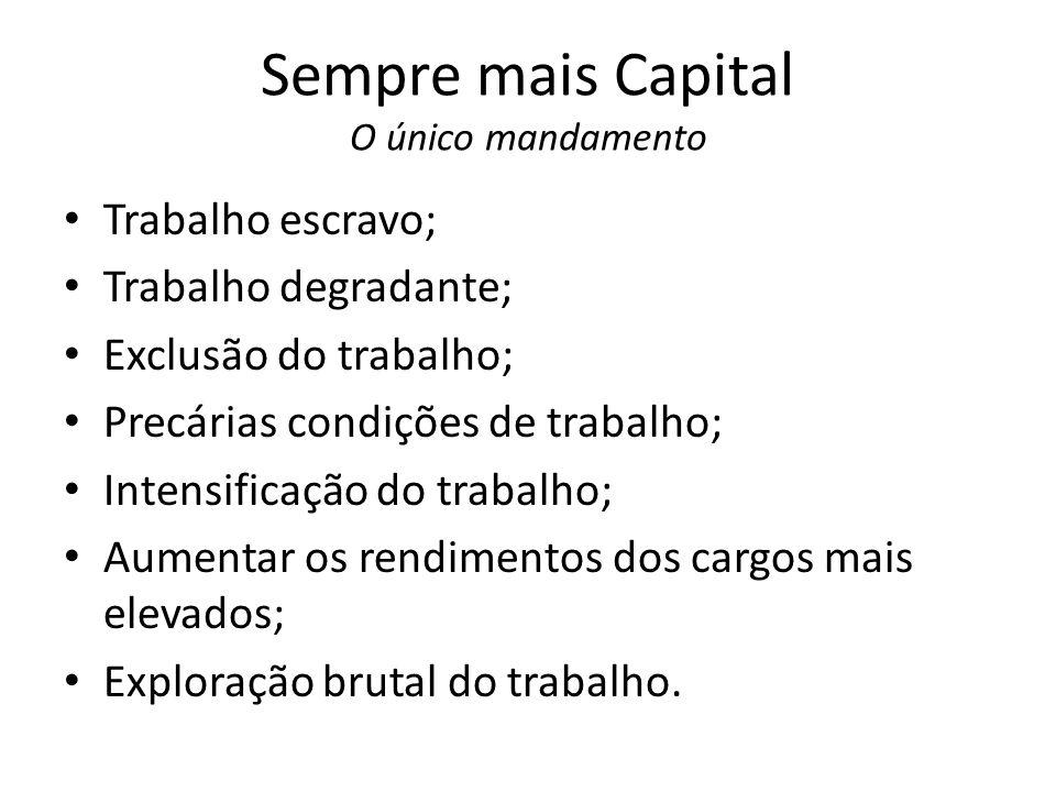 Sempre mais Capital O único mandamento Trabalho escravo; Trabalho degradante; Exclusão do trabalho; Precárias condições de trabalho; Intensificação do