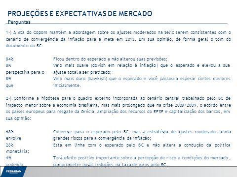 Apresentação ao Senado PROJEÇÕES E EXPECTATIVAS DE MERCADO Perguntas 1-) A Ata do Copom mantém a abordagem sobre os ajustes moderados na Selic serem consistentes com o cenário de convergência da inflação para a meta em 2012.