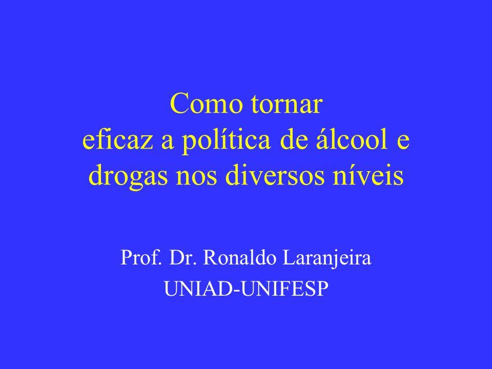 Como tornar eficaz a política de álcool e drogas nos diversos níveis Prof. Dr. Ronaldo Laranjeira UNIAD-UNIFESP