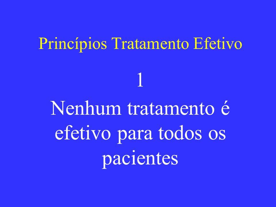 Princípios Tratamento Efetivo 1 Nenhum tratamento é efetivo para todos os pacientes