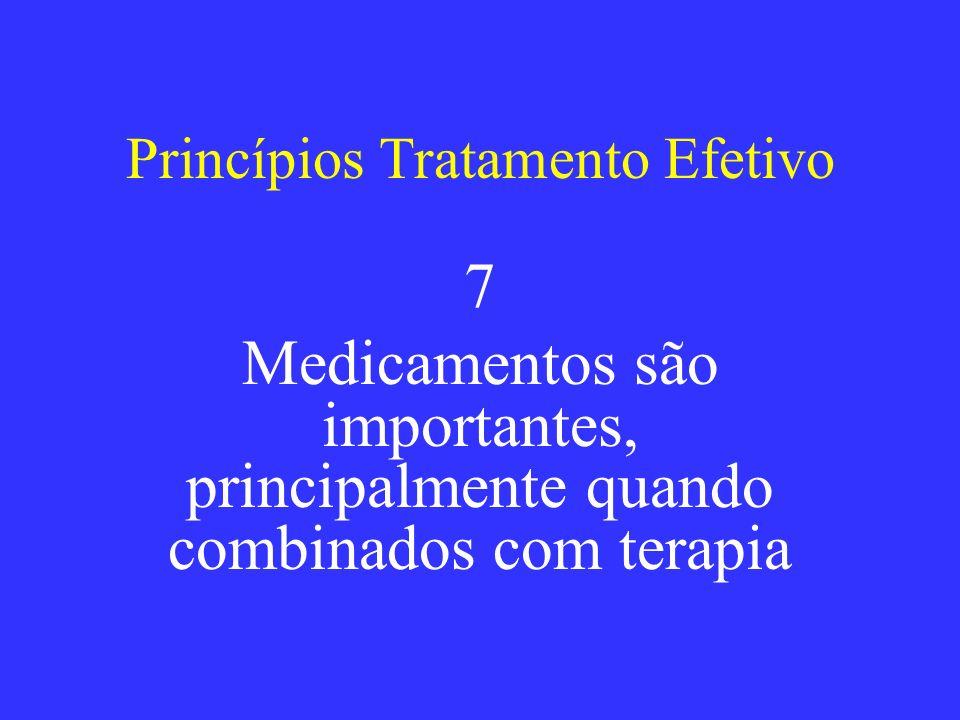 Princípios Tratamento Efetivo 7 Medicamentos são importantes, principalmente quando combinados com terapia