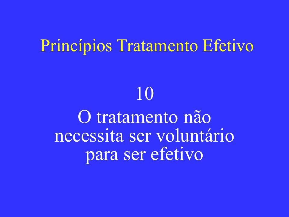 Princípios Tratamento Efetivo 10 O tratamento não necessita ser voluntário para ser efetivo