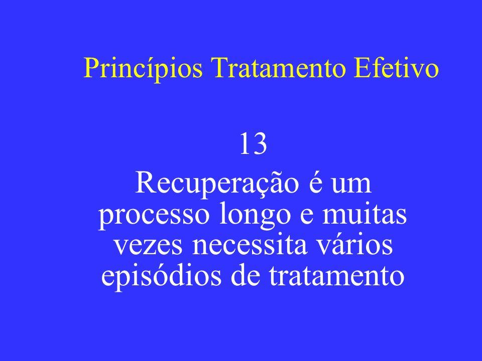 Princípios Tratamento Efetivo 13 Recuperação é um processo longo e muitas vezes necessita vários episódios de tratamento