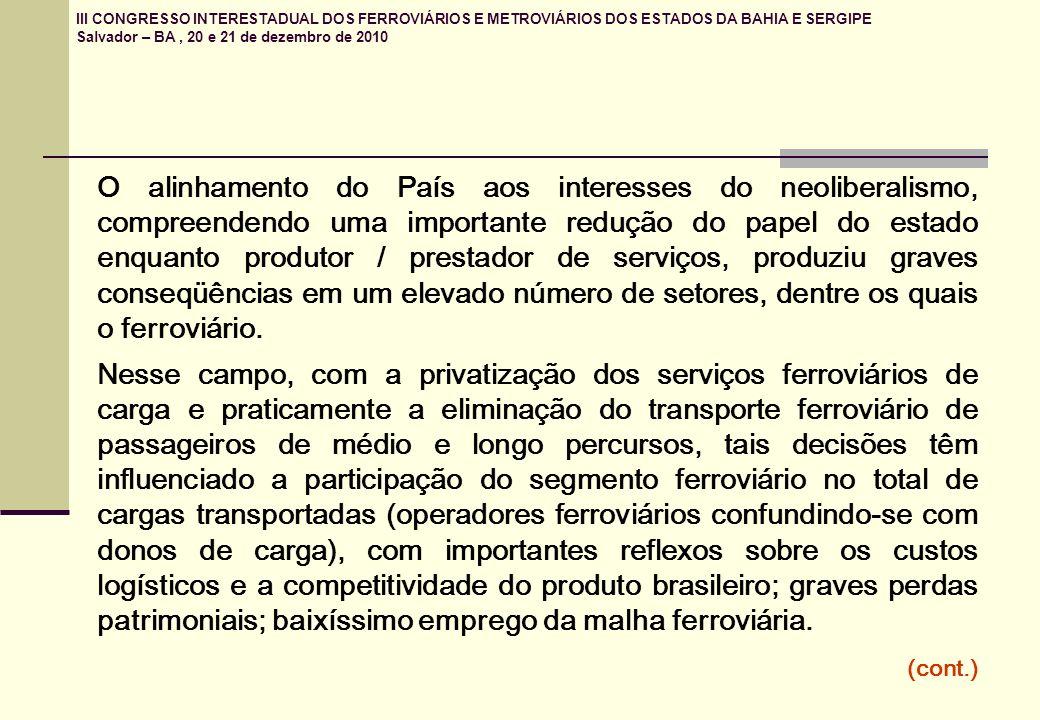 III CONGRESSO INTERESTADUAL DOS FERROVIÁRIOS E METROVIÁRIOS DOS ESTADOS DA BAHIA E SERGIPE Salvador – BA, 20 e 21 de dezembro de 2010 O alinhamento do País aos interesses do neoliberalismo, compreendendo uma importante redução do papel do estado enquanto produtor / prestador de serviços, produziu graves conseqüências em um elevado número de setores, dentre os quais o ferroviário.