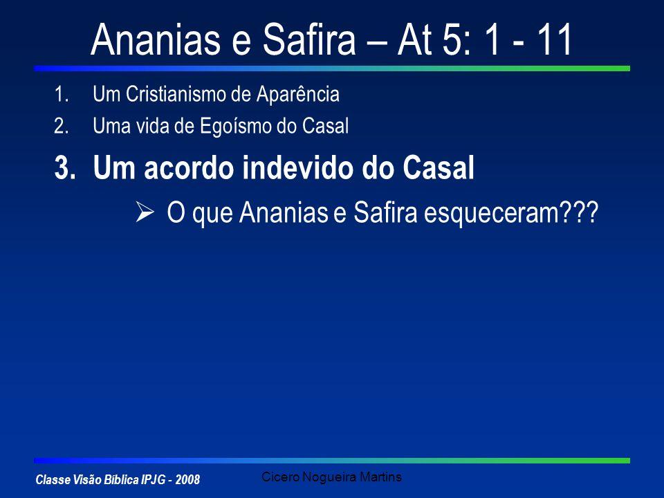 Classe Visão Bíblica IPJG - 2008 Cicero Nogueira Martins Ananias e Safira – At 5: 1 - 11 1.Um Cristianismo de Aparência 2.Uma vida de Egoísmo do Casal