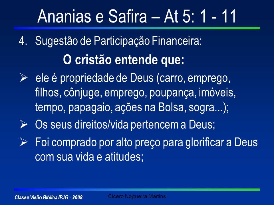 Classe Visão Bíblica IPJG - 2008 Cicero Nogueira Martins Ananias e Safira – At 5: 1 - 11 4.Sugestão de Participação Financeira: O cristão entende que: