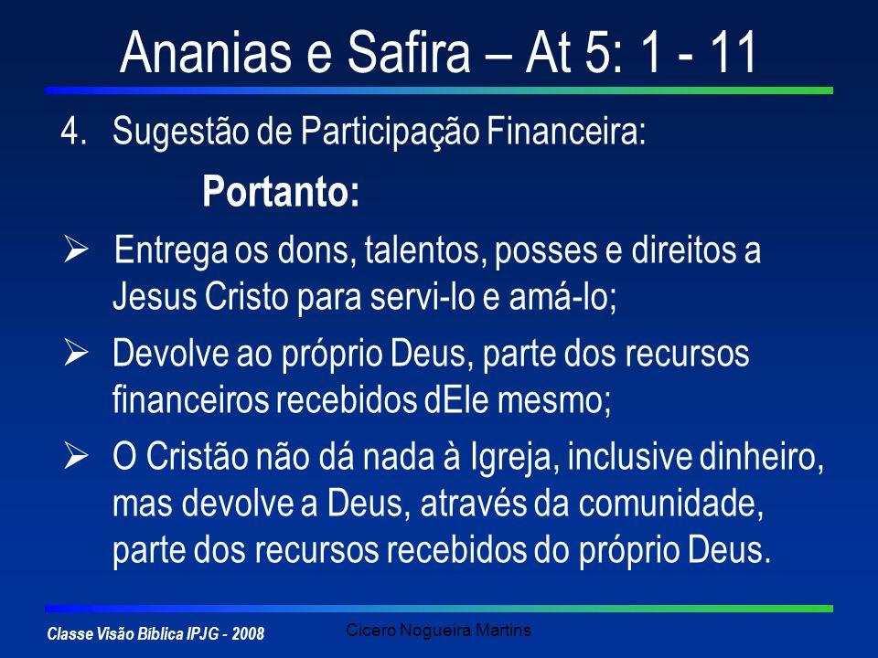 Classe Visão Bíblica IPJG - 2008 Cicero Nogueira Martins Ananias e Safira – At 5: 1 - 11 4.Sugestão de Participação Financeira: Portanto: Entrega os d