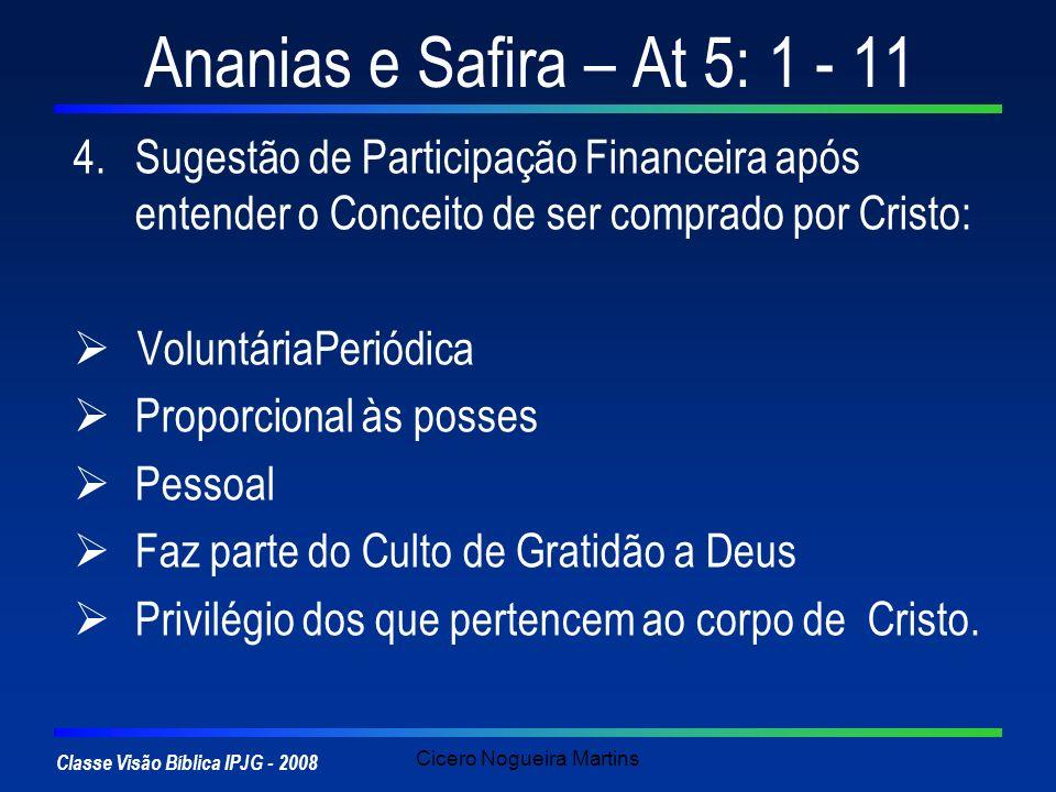 Classe Visão Bíblica IPJG - 2008 Cicero Nogueira Martins Ananias e Safira – At 5: 1 - 11 4.Sugestão de Participação Financeira após entender o Conceit