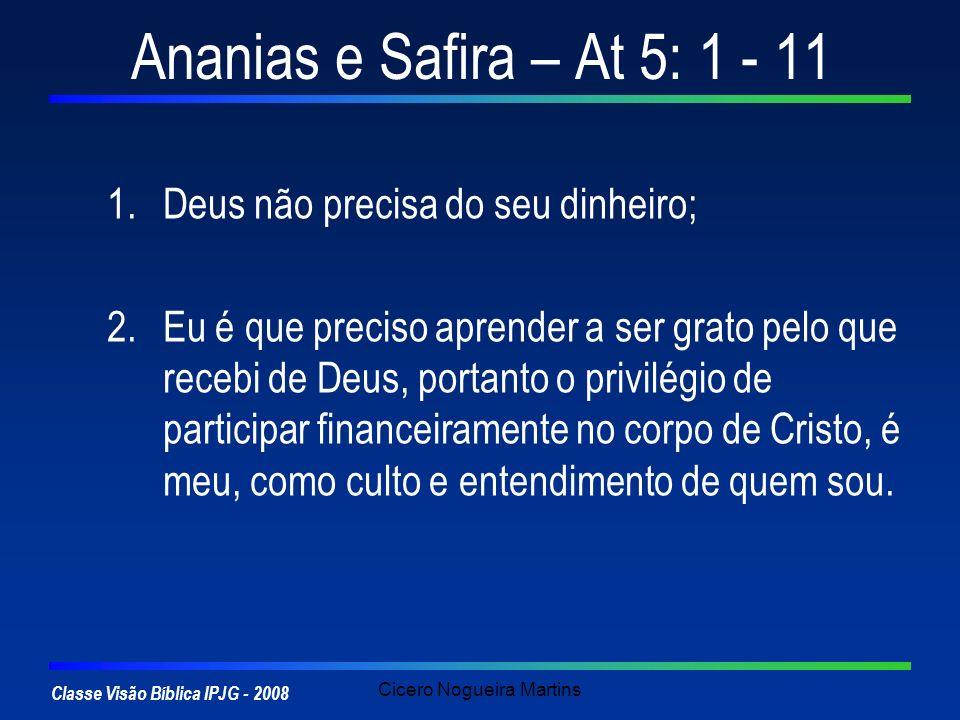 Classe Visão Bíblica IPJG - 2008 Cicero Nogueira Martins Ananias e Safira – At 5: 1 - 11 1.Deus não precisa do seu dinheiro; 2.Eu é que preciso aprend