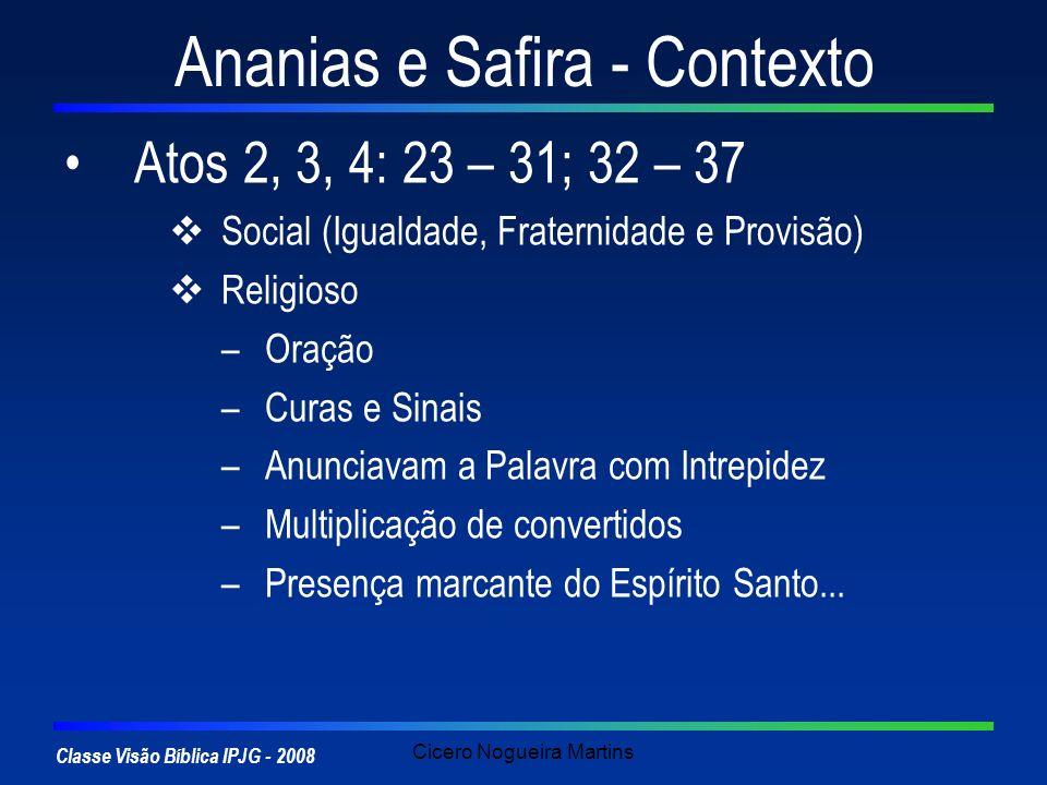 Classe Visão Bíblica IPJG - 2008 Cicero Nogueira Martins Ananias e Safira - Contexto Atos 2, 3, 4: 23 – 31; 32 – 37 Social (Igualdade, Fraternidade e