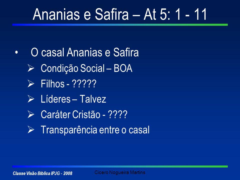 Classe Visão Bíblica IPJG - 2008 Cicero Nogueira Martins Ananias e Safira – At 5: 1 - 11 O casal Ananias e Safira Condição Social – BOA Filhos - ?????