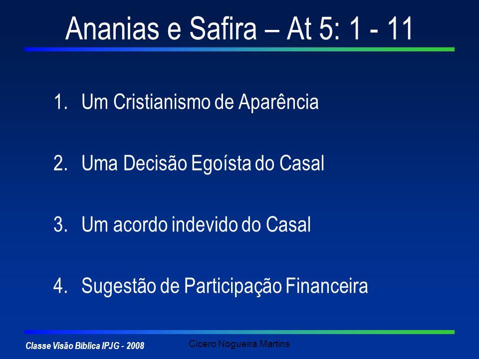 Classe Visão Bíblica IPJG - 2008 Cicero Nogueira Martins Ananias e Safira – At 5: 1 - 11 1.Um Cristianismo de Aparência Não havia obrigação de nada (At 4:32; 5:4) Fazendo média com os irmãos Mt 15: 7,8 – Lábios x Coração Mt 6: 19-24 – O Reino e o dinheiro Mc 12: 41 - 44