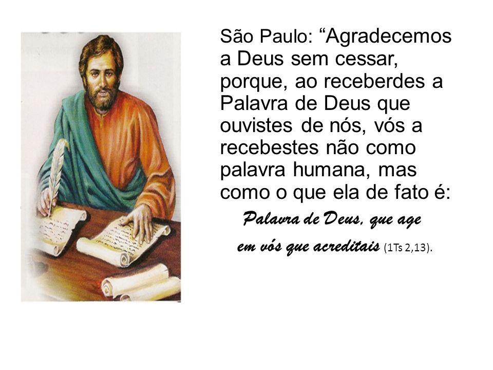 São Paulo: Agradecemos a Deus sem cessar, porque, ao receberdes a Palavra de Deus que ouvistes de nós, vós a recebestes não como palavra humana, mas como o que ela de fato é: Palavra de Deus, que age em vós que acreditais (1Ts 2,13).