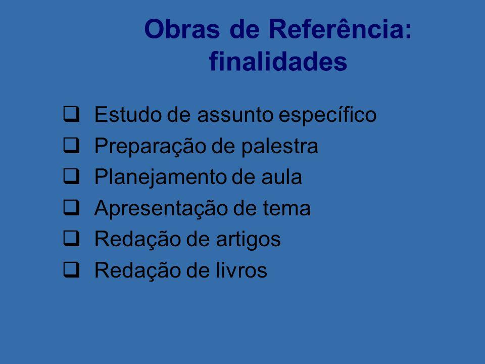 Obras de Referência: finalidades Estudo de assunto específico Preparação de palestra Planejamento de aula Apresentação de tema Redação de artigos Reda