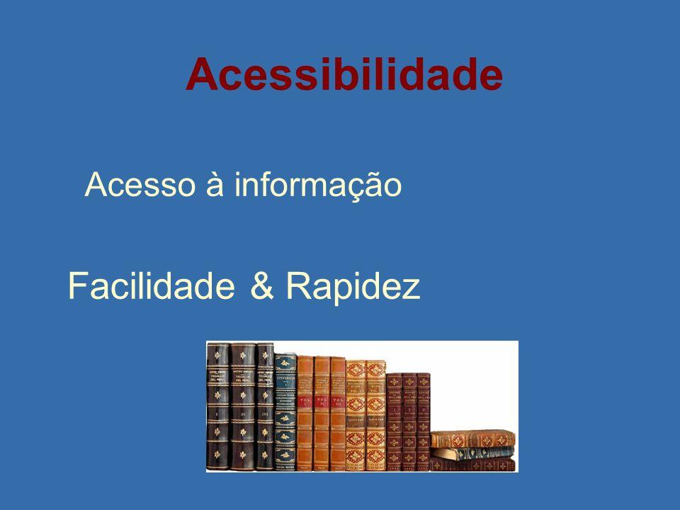 Acessibilidade Acesso à informação Facilidade & Rapidez