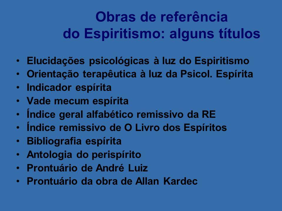 Obras de referência do Espiritismo: alguns títulos Elucidações psicológicas à luz do Espiritismo Orientação terapêutica à luz da Psicol. Espírita Indi