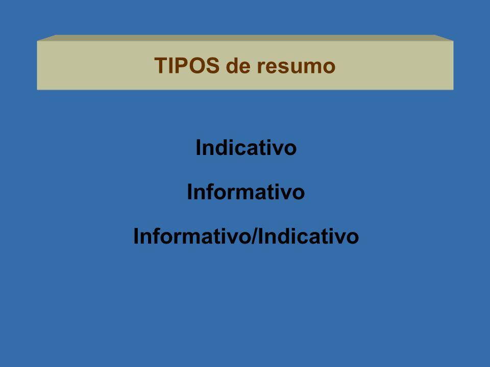 TIPOS de resumo Indicativo Informativo Informativo/Indicativo