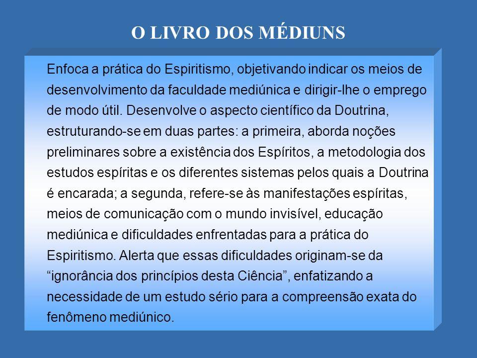 O LIVRO DOS MÉDIUNS Enfoca a prática do Espiritismo, objetivando indicar os meios de desenvolvimento da faculdade mediúnica e dirigir-lhe o emprego de