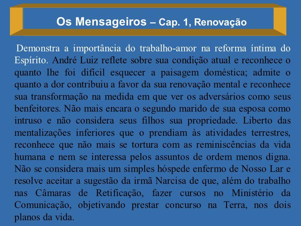 Os Mensageiros – Cap. 1, Renovação Demonstra a importância do trabalho-amor na reforma íntima do Espírito. André Luiz reflete sobre sua condição atual