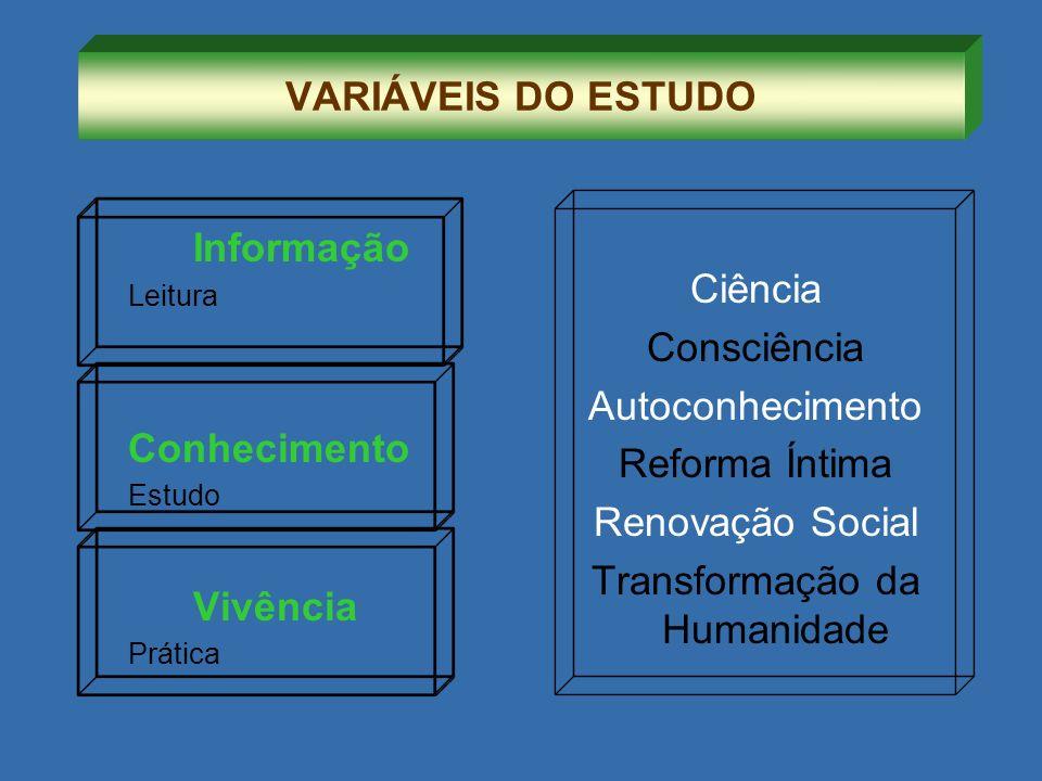 Informação Leitura Conhecimento Estudo Vivência Prática Ciência Consciência Autoconhecimento Reforma Íntima Renovação Social Transformação da Humanida