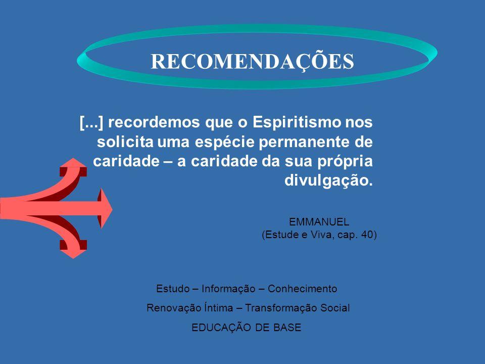 RECOMENDAÇÕES EMMANUEL (Estude e Viva, cap. 40) Estudo – Informação – Conhecimento Renovação Íntima – Transformação Social EDUCAÇÃO DE BASE [...] reco
