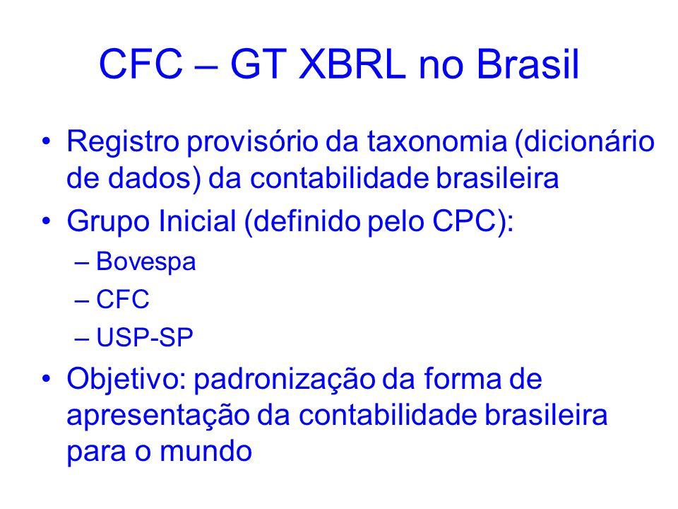 CFC – GT XBRL no Brasil Registro provisório da taxonomia (dicionário de dados) da contabilidade brasileira Grupo Inicial (definido pelo CPC): –Bovespa