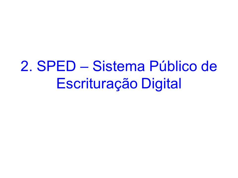 2. SPED – Sistema Público de Escrituração Digital