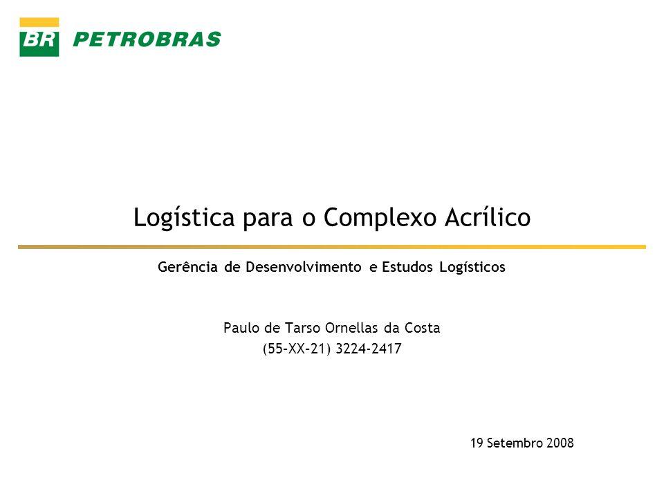 Gerência de Desenvolvimento e Estudos Logísticos Logística para o Complexo Acrílico Paulo de Tarso Ornellas da Costa (55–XX–21) 3224-2417 19 Setembro