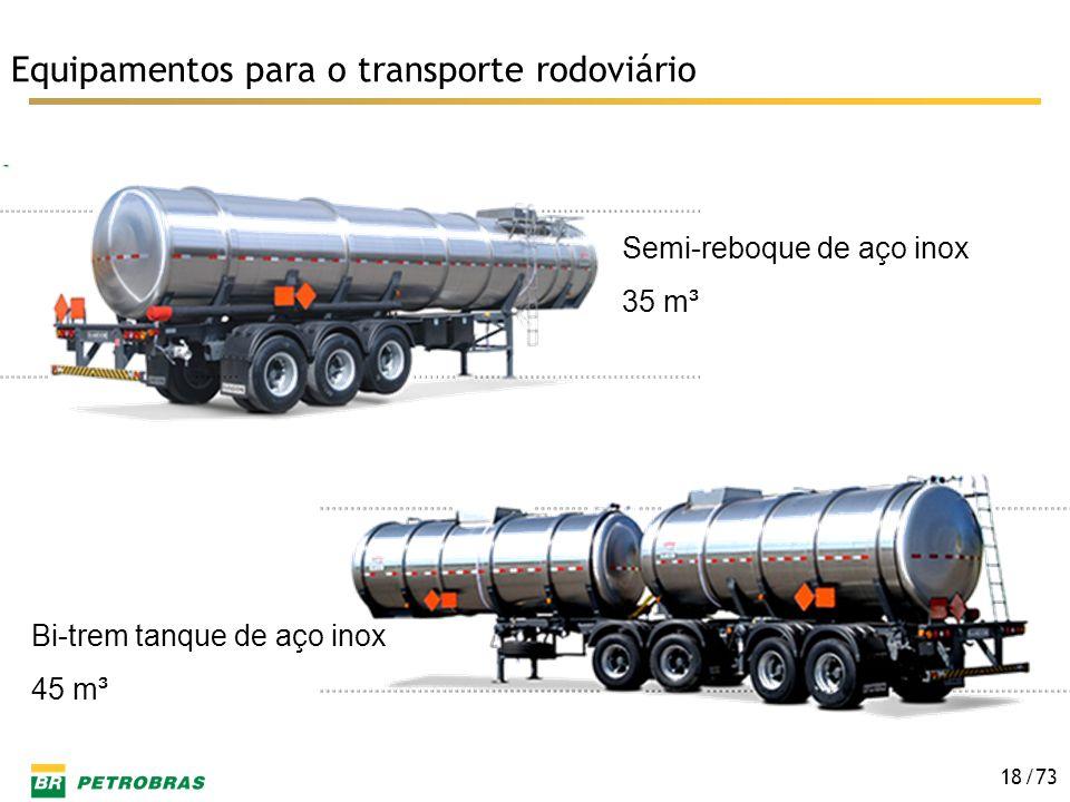 /73 18 Equipamentos para o transporte rodoviário Semi-reboque de aço inox 35 m³ Bi-trem tanque de aço inox 45 m³