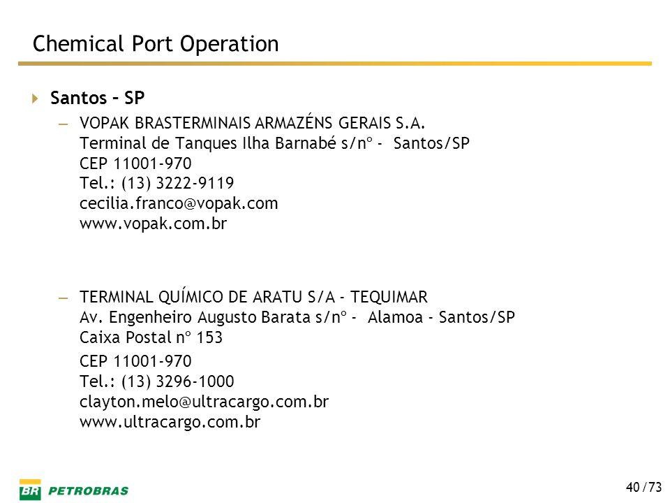 /73 40 Santos – SP – VOPAK BRASTERMINAIS ARMAZÉNS GERAIS S.A. Terminal de Tanques Ilha Barnabé s/nº - Santos/SP CEP 11001-970 Tel.: (13) 3222-9119 cec