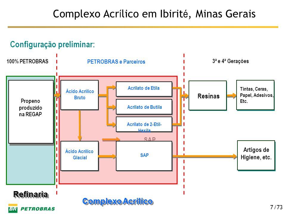 /73 7 Complexo Acr í lico em Ibirit é, Minas Gerais Configuração preliminar: Complexo Acrílico Complexo Acrílico Refinaria Refinaria SAP glacial bruto
