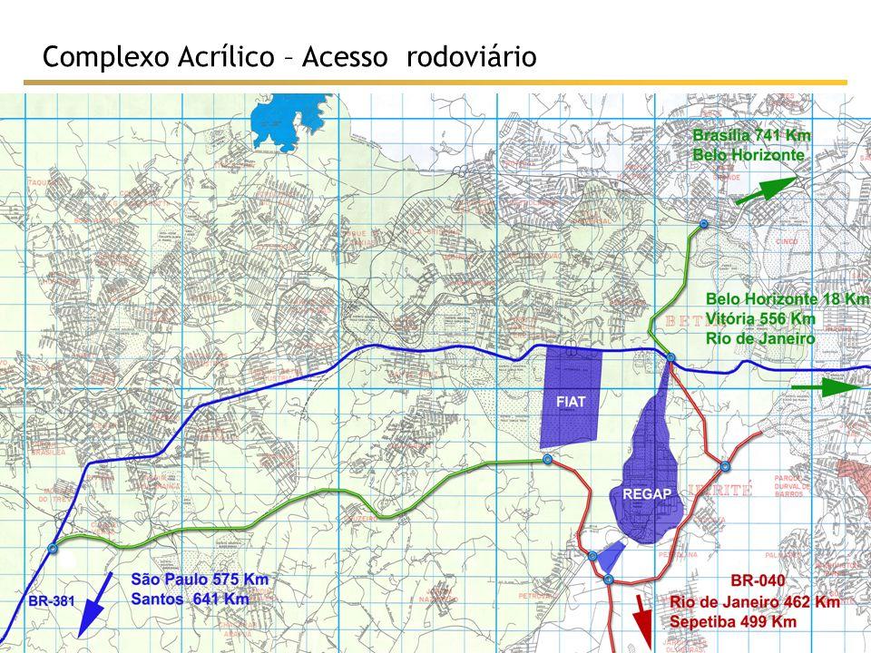 /73 10 Complexo Acrílico – Acessos ferroviários Complexo Acrílico REGAP Linha férrea (FCA) Linha férrea (MRS)