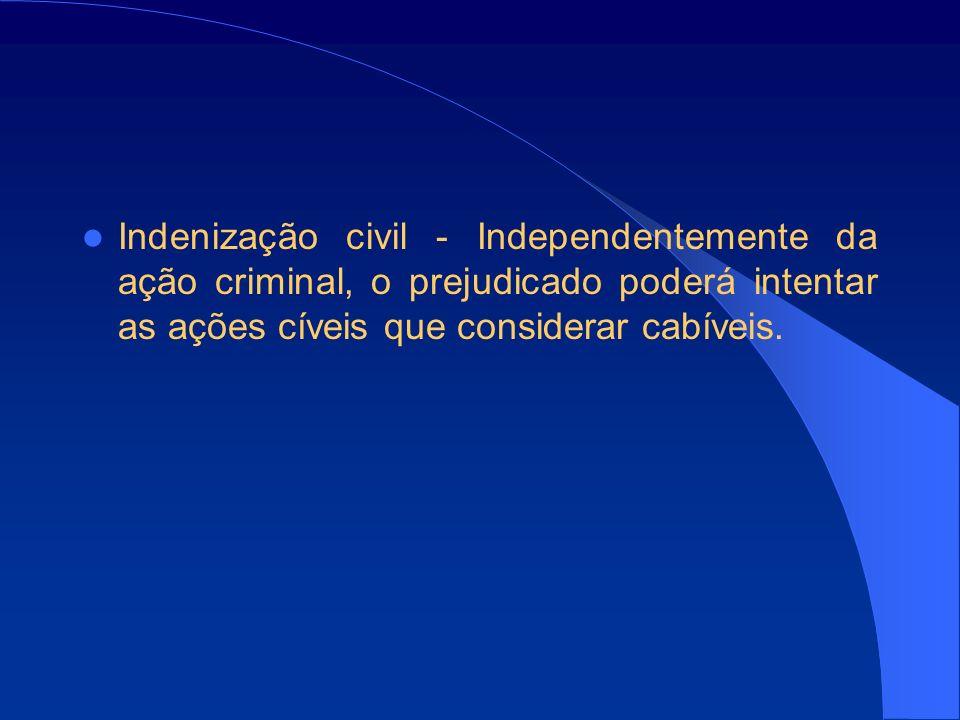 Indenização civil - Independentemente da ação criminal, o prejudicado poderá intentar as ações cíveis que considerar cabíveis.