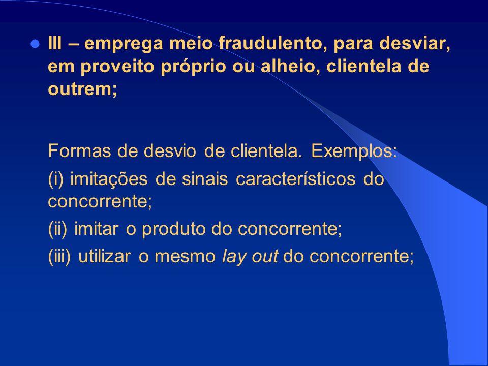 III – emprega meio fraudulento, para desviar, em proveito próprio ou alheio, clientela de outrem; Formas de desvio de clientela.