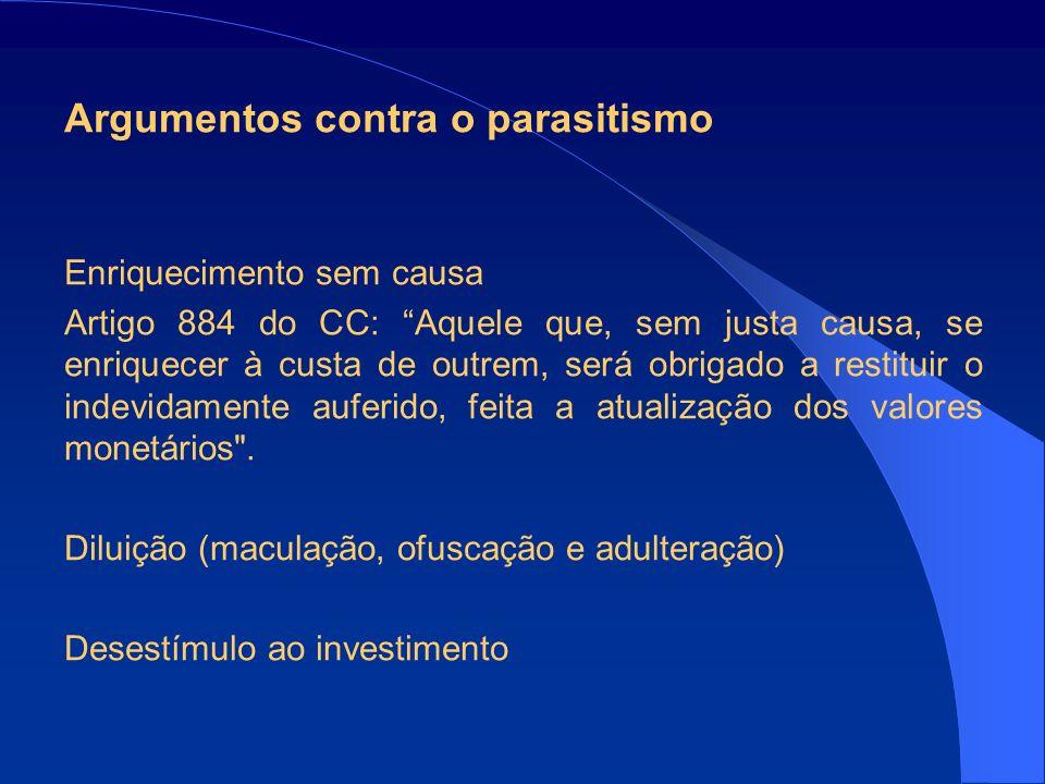 Argumentos contra o parasitismo Enriquecimento sem causa Artigo 884 do CC: Aquele que, sem justa causa, se enriquecer à custa de outrem, será obrigado a restituir o indevidamente auferido, feita a atualização dos valores monetários .