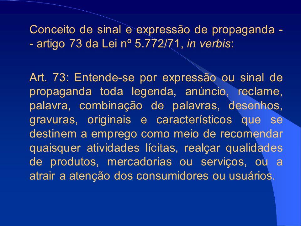 Conceito de sinal e expressão de propaganda - - artigo 73 da Lei nº 5.772/71, in verbis: Art.