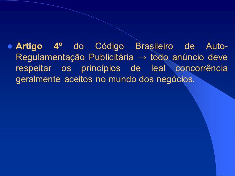 Artigo 4º do Código Brasileiro de Auto- Regulamentação Publicitária todo anúncio deve respeitar os princípios de leal concorrência geralmente aceitos no mundo dos negócios.