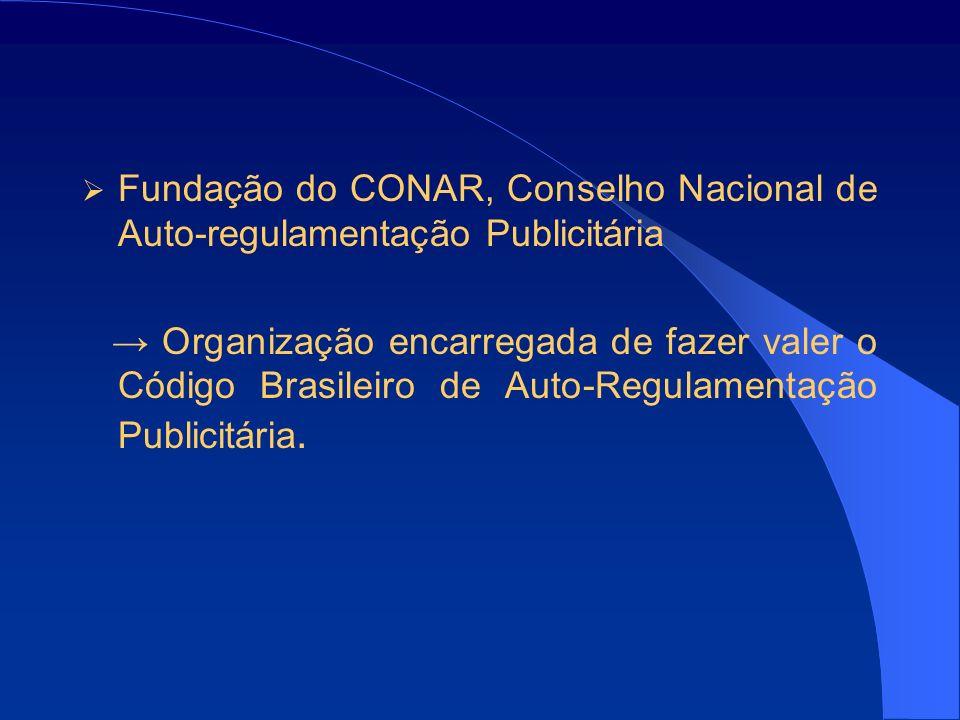 Fundação do CONAR, Conselho Nacional de Auto-regulamentação Publicitária Organização encarregada de fazer valer o Código Brasileiro de Auto-Regulamentação Publicitária.