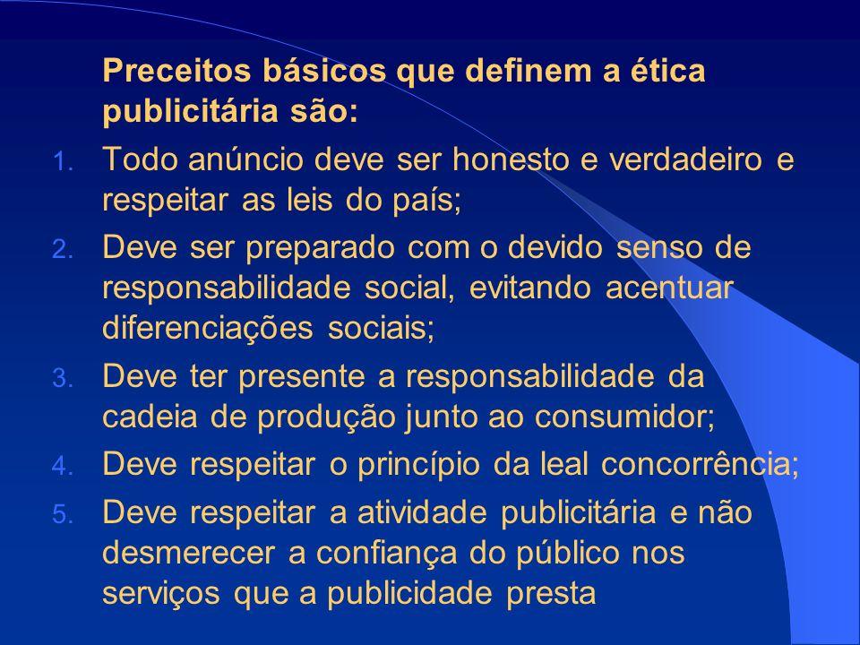 Preceitos básicos que definem a ética publicitária são: 1.